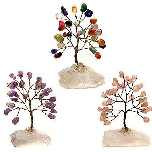 Kit com 3 Árvores de Pedras e Cristais 10cm - Atacado