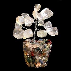 Árvore de Pedras Cristal Quartzo Transparente 9cm