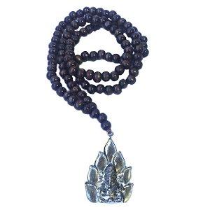 Japamala de 108 Contas de Madeira Ganesha Prateado