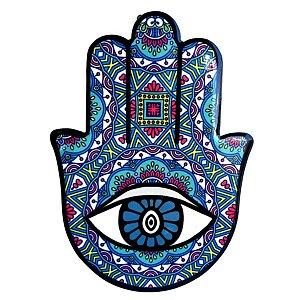 Mão de Hamsá com olho Cerâmica - Quadro Mesa ou Parede Tiffany  14cm