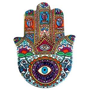 """Mão de Hamsá com olho Cerâmica """"D"""" - Quadro Mesa ou Parede 14cm"""
