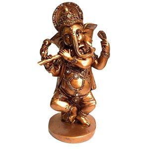 Ganesha Tocando Flauta e Dançando Resina 21,5cm