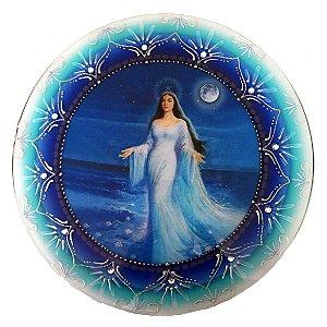 Mandala de Iemanjá Parede Vidro Azul 30cm
