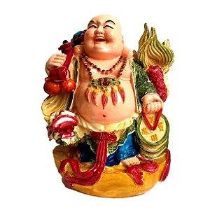 Estátua Buda Chinês Sorridente com Dragão 17cm