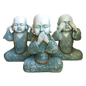 Trio de Estátuas Monge Buda Sábios Cego, Surdo e Mudo Verde 23cm