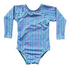 Maiô Infantil Manga Longa Kymacta Baby Escama Azul