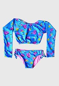Biquini Infantil Cropped Manga Longa Kymacta Baby Flamingos Azul