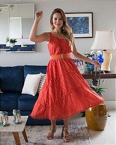 Vestido Midi  Coral  Luzia Fazzolli