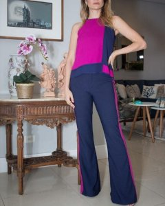 Conjunto Calça Flare e Blusa Marinho com Rosa Pink Raizz