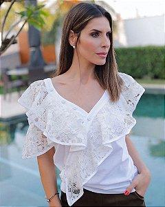 Blusa Renda Decote Assimétrico Offwhite Luzia Fazzolli