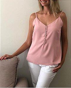 Blusa De Alça Fina Com Botões Rosa