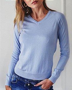 Blusa Básica De Tricot Decote V 100% Algodão Azul Anselmi