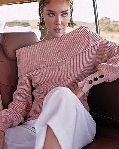 Blusa Tricot Decote Ombro a Ombro Rosa Anselmi