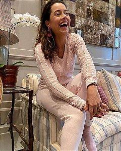 Blusa de Tricot Decote V  Rosa Anselmi