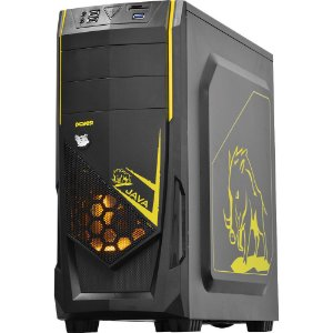 Gabinete Gamer PcYes Java  Mid-Tower 1 Fan Led Amarelo Frontal  Lateral Acrílico S/Fonte