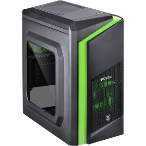Gabinete Gamer PcYes Dark Dwarf Mid-Tower 1 Fan Led Verde Frontal Lateral Acrílico S/Fonte