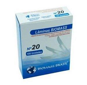 Lâmina de bisturi N20 , marca Biomass , caixa com 100 peças