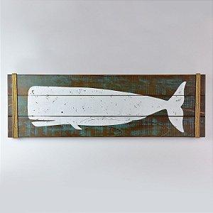 Quadro Baleia Rústico Marrom e Verde
