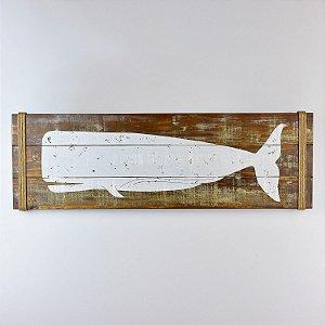 Quadro Baleia Rústico Marrom e Bege