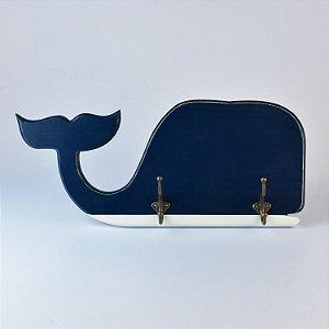 Cabideiro Baleia Azul em Madeira