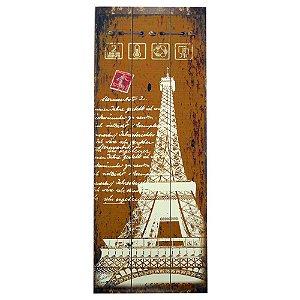 Quadro Rústico Torre Eiffel Amarelo