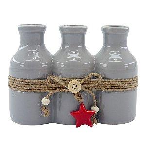 Vaso de Cerâmica Star Cinza