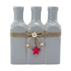 Vaso de Cerâmica Star 3 Garrafas Cinza