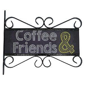 Placa Vintage Aramado Coffee & Friends