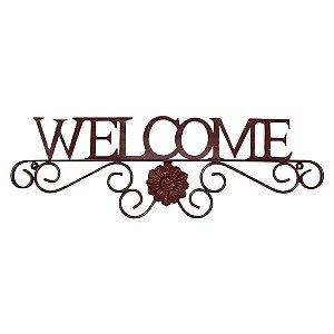 Aramado Welcome vermelho em metal