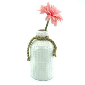 Vaso de Cerâmica estilo Garrafa de Sisal Branca