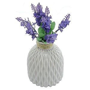 Vaso de Cerâmica Geométrico Branco