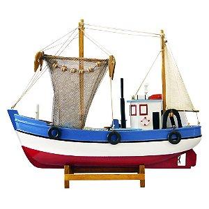 Barco Miniatura de Madeira Pesqueiro Azul E Vermelho
