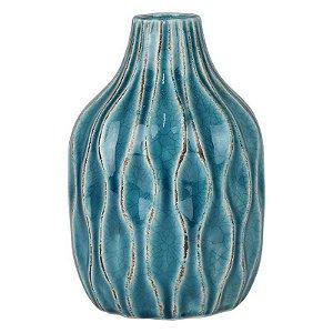 Vaso de Cerâmica Bottle Azul
