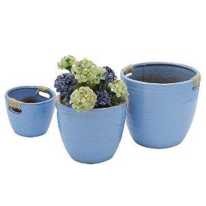Jogo com 3 Vasos de Cerâmica Vietnã Azul