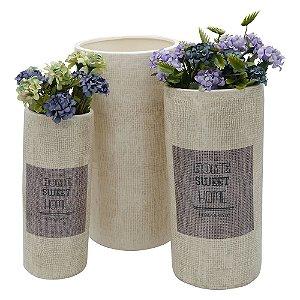 Jogo c/ 3 Vasos de Cerâmica Home Sweet Home