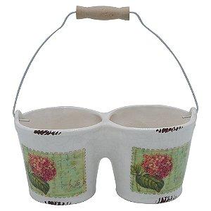 Vaso de Cerâmica Branco Flower