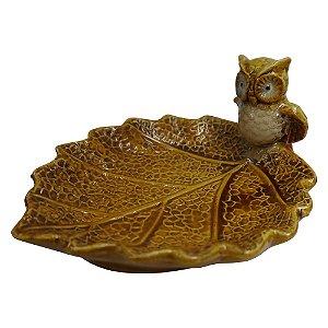 Saboneteira de Cerâmica Coruja Amarela