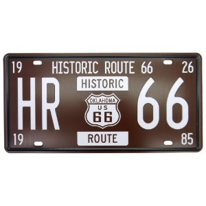 Placa decorativa de Metal Historic 66