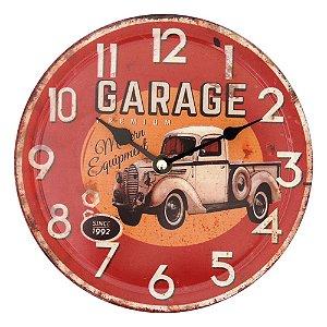 Relógio de Parede Garage Vermelho