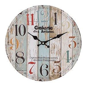 Relógio de Parede Estilo Madeira Rústica 35cm