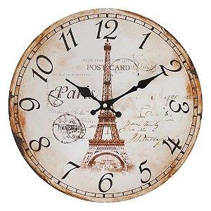 Relógio de Parede Rústico Torre Eiffel