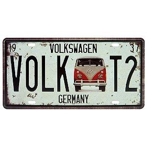 Placa decorativa de Metal Kombi Volk T2