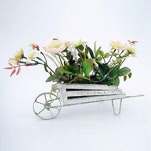 Carrinho com Flores Artificiais Decorativo