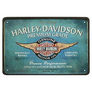 Placa de Metal Decorativa Azul Harley