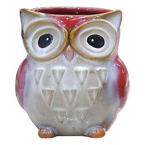 Vaso de Cerâmica Coruja Vermelha