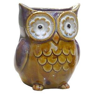 Vaso de Cerâmica Coruja Roxa