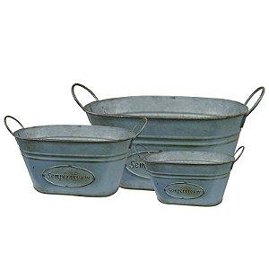 Jogo c/ 3 Vasos Vintages de Metal