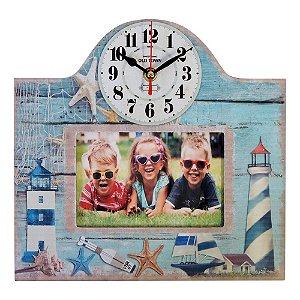 Relógio com Porta Retrato Beach