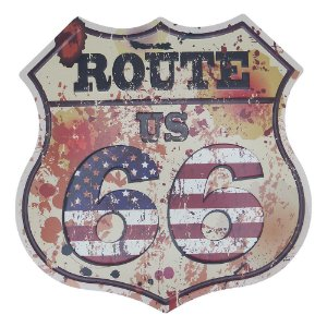 Placa de Metal Decorativa Route USA Branca
