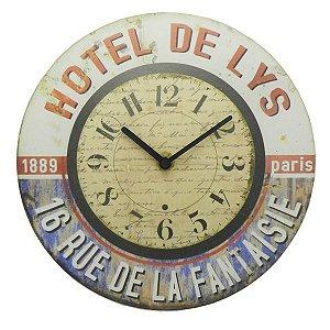 Relógio de Parede Rústico Hotel De Lys